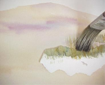 painting sand with watercolor2